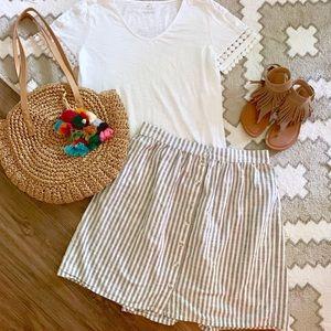 H&M Blue & White Striped Hi Waist Button Up Skirt